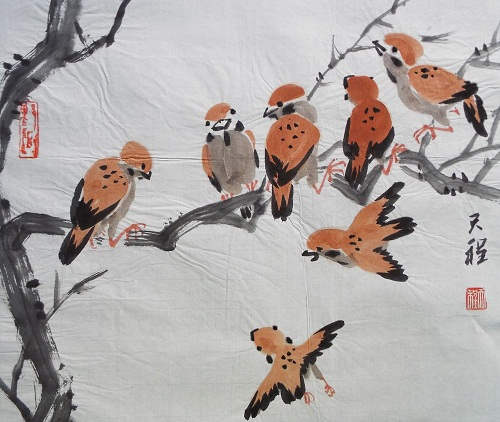 Chinese Painting Sparrows