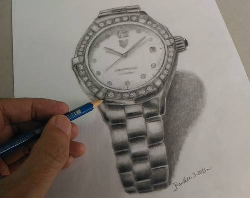 Realistic Watch Sketch