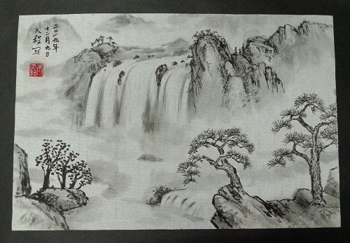 Chinese Ink Painting Landscape with Waterfalls
