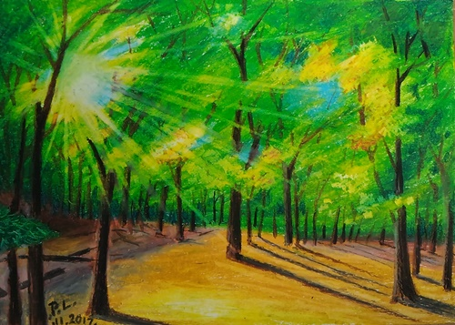 Oil Painting Forest floor with rays