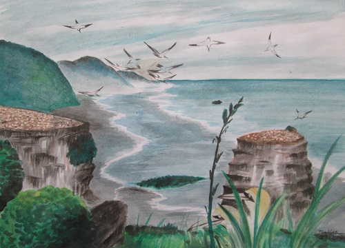 Water Colour Gannet Colony New Zealand1