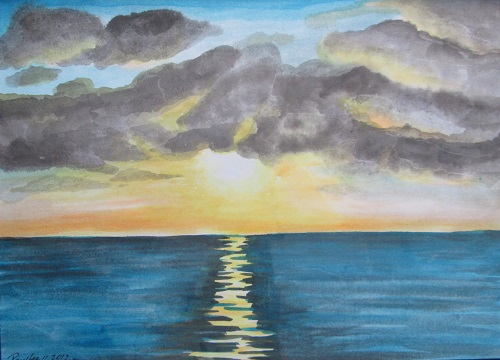 Water Colour Sunset 1