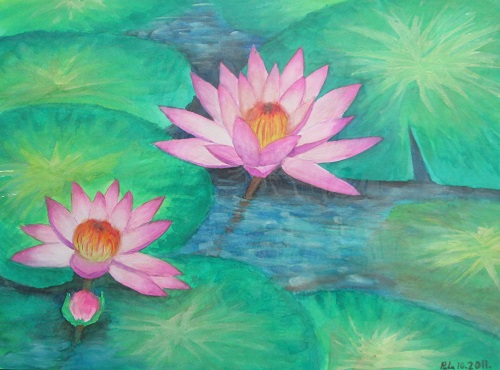 Water Colour Waterlily 1