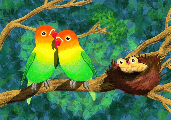 Digital Art Love Birds